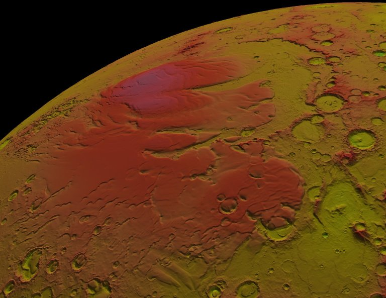 MOLA: Seasonal Snow Variations on Mars, Medium Zoom out from Martian South Pole: False Color