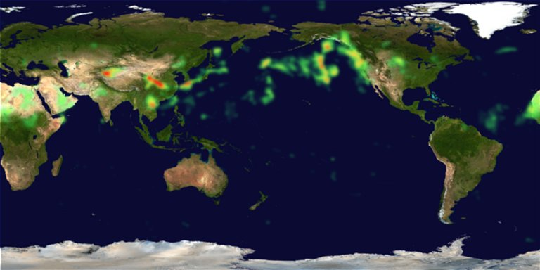 China Dust Storm Pollutes Air in the Eastern United States in April 2001 (Flatmap)