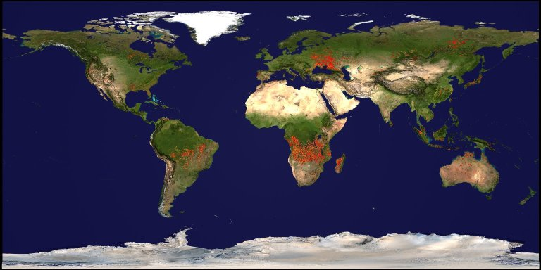 Annual Portrait of Global Fires during 2001 and 2002 on a Flat Map