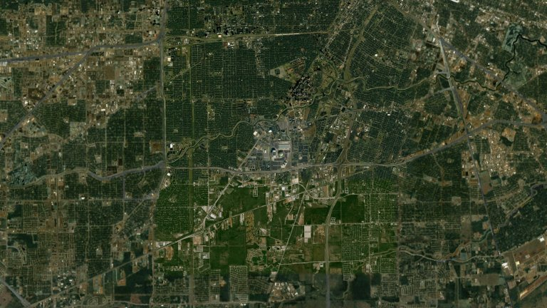 Great Zoom out of Houston, Texas: Reliant Stadium