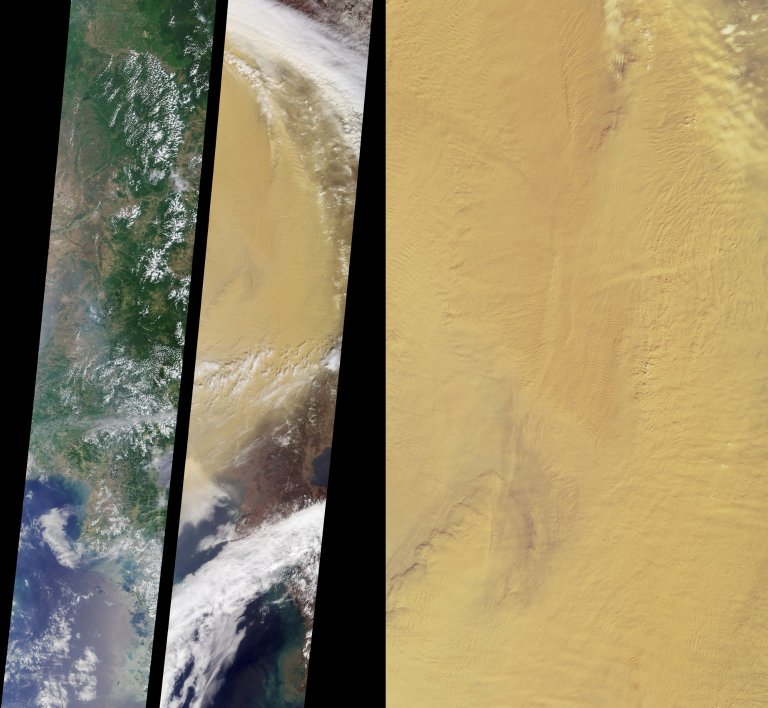 Dust clouds over eastern China