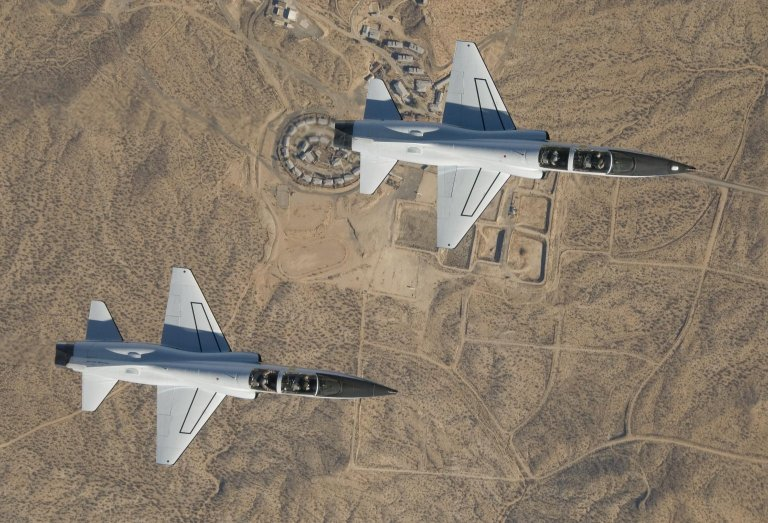 Dryden's two T-38A Aircraft Fly in Tight Formation