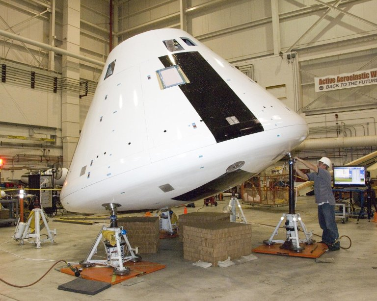 Orion Crew Module for the Orion Launch Abort System Pad Abort-1 Flight Test is Tilted on Jacks