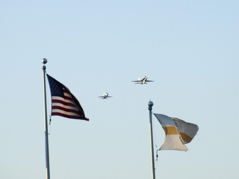 T-38 and F-18 Flyover, Flags, JetHawks