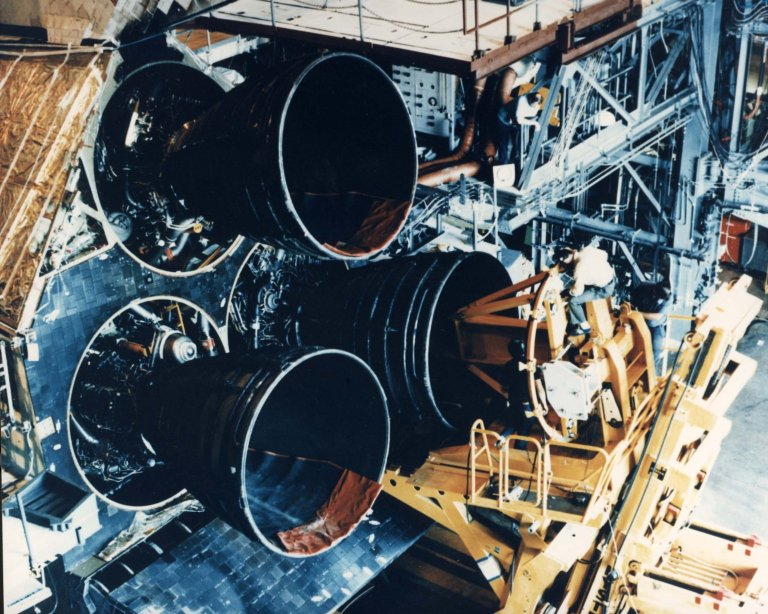 Main Engines Are Installed on the Space Shuttle