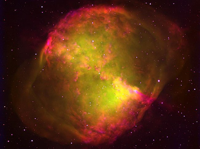 The Dumbbell Nebula in Hydrogen and Oxygen