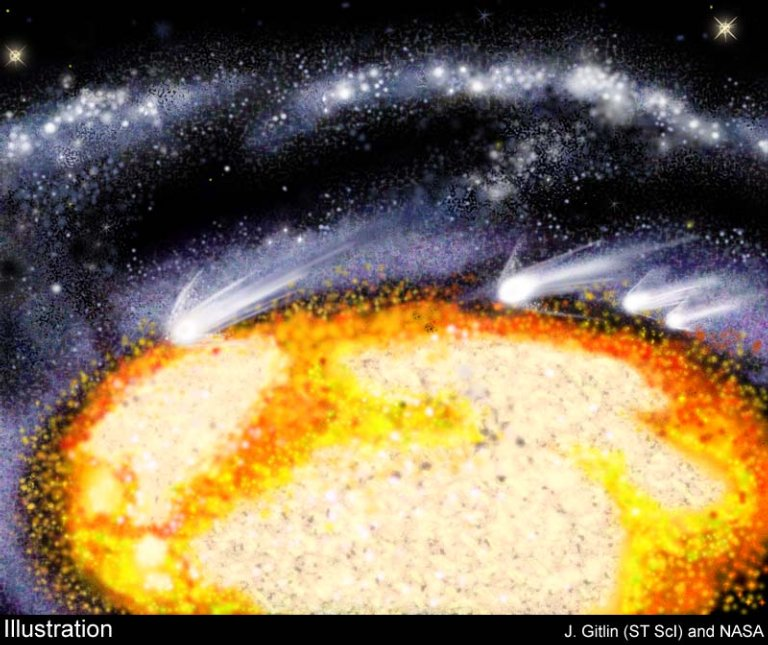 """Hubble Spies Supersonic """"Comet-Clouds"""" in Heart of Galaxy"""