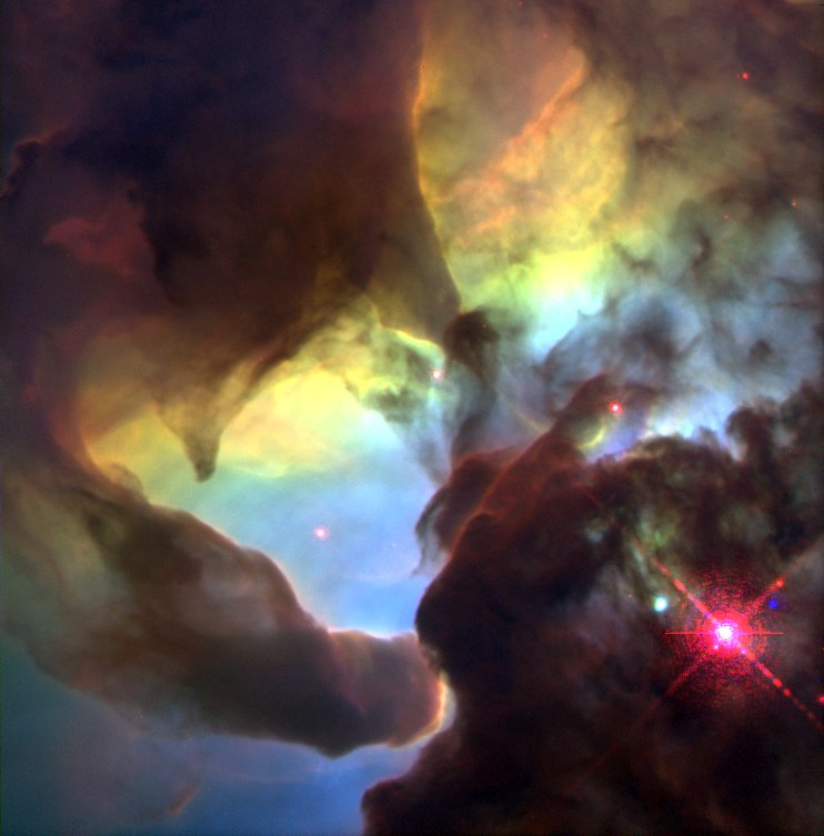 """Giant """"Twisters"""" and Star Wisps in the Lagoon Nebula"""