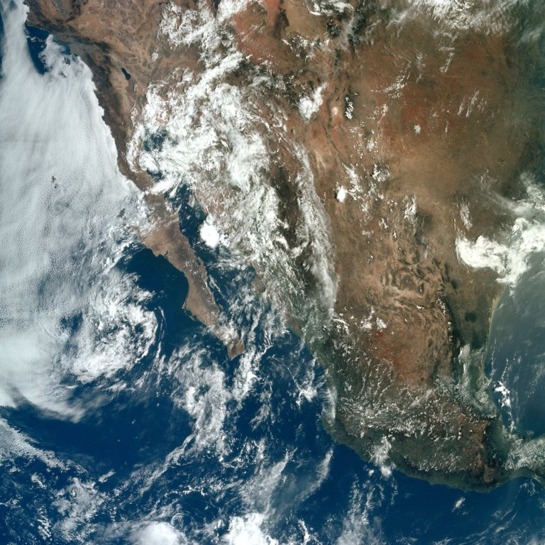 Apollo 11 Mission image - Earth view of Baja California, the United States and Mexico