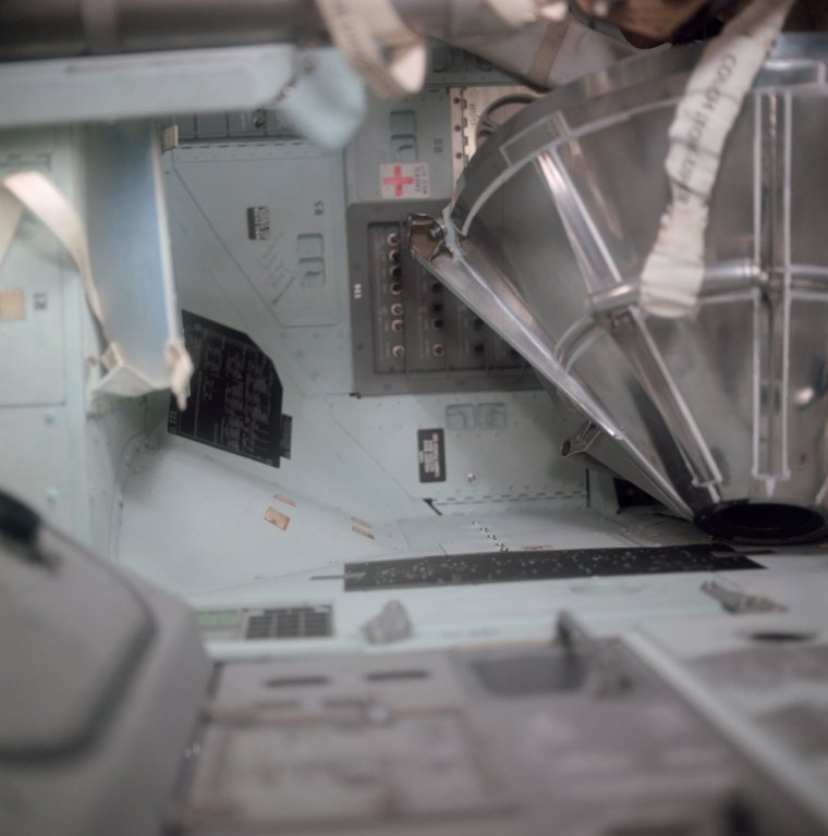Apollo 11 Mission image - Lunar Module and Command Module drogue and probe docking assembly