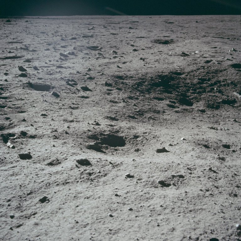Apollo 11 Mission image - Shallow craters on lunar surface