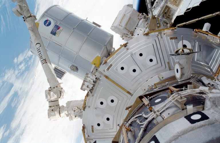 Forward side of MPLM during EVA 1