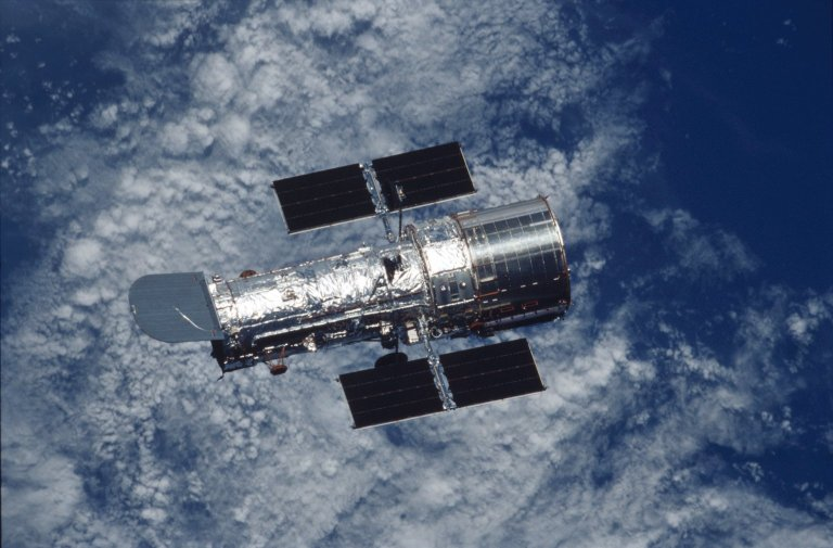 Deployed view of the Hubble Space Telescope