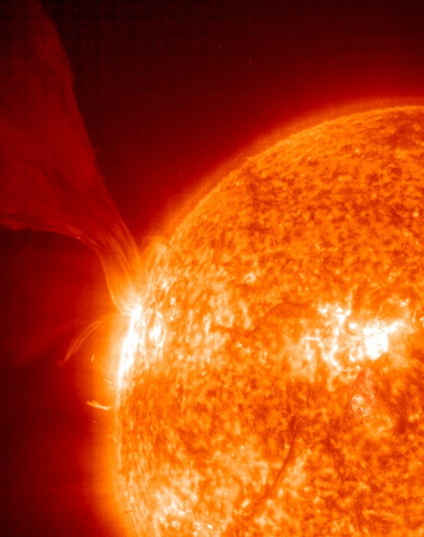 An extensive erupting prominence taken on 15 May, 2001 -- Prominences are huge clouds of relatively cool dense plasma suspended Joseph B. Gurman Normal Joseph B. Gurman 1 0 2001-06-13T15:55:00Z 2001-06-13T15:55:00Z 1 61 353 NASA GSGC 2 1 433 9.2511 800x600 0 0 An extensive erupting prominence taken on 15 May, 2001 -- Prominences are huge clouds of relatively cool dense plasma suspended in the Sun's hot, thin corona. At times, they can erupt, escaping the Sun's atmosphere. Emission in this spectral line of EIT 304Å shows the upper chromosphere at a temperature of about 60,000 degrees K. The hottest areas appear almost white, while the darker red areas indicate cooler temperatures.