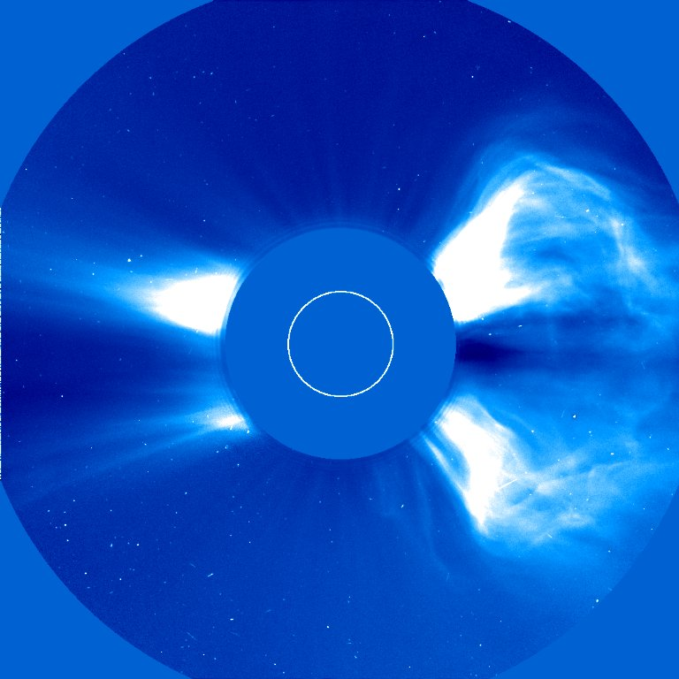 Large coronal mass ejection (CME) from 6 November 1997 as recorded by the LASCO C2 coronagraph at 12:36 UT.