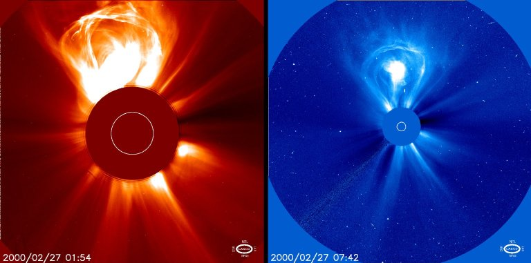 """""""Lightbulb"""" CME. A coronal mass ejection on Feb. 27, 2000 taken by LASCO C2 and C3. A CME blasts into space a billion tons of particles travelling millions of miles an hour. This particular CME is """"lightbulb- shaped"""" and is featured on our """"Hot Shots"""" page."""