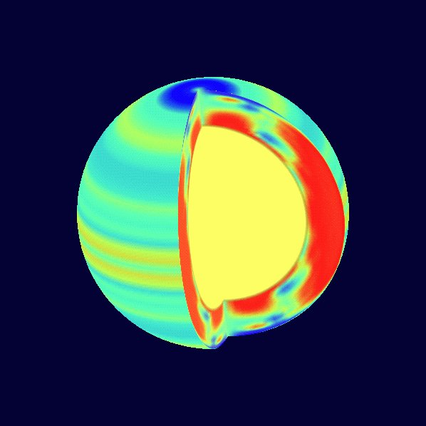 VARIATIONS IN SOLAR MOTION IMAGE: This image is taken using the Michelson Doppler Imager (MDI) instrument on the NASA/ESA Solar and Heliospheric Observatory (SOHO) spacecraft. It is a result of computations using observations taken continuously from May 1996 to May 1997. This false color image represents the difference in speeds between various areas on the Sun, both at the surface and in the interior. Red - yellow is faster than average and blue is slower than average. On the left side of the image, the light orange bands are zones that are moving slightly faster than their surroundings. The new SOHO observations indicate that these extend down approximately 12,000 miles into the sun. Sunspots, caused by disturbances in the solar magnetic field, tend to form at the edge of these bands. Scientists at the Stanford University, Calif. Solar Oscillations Investigation (SOI) group speculate that this may be due to the difference in speed at the edge of these zones that tend to ?twist? the magnetic field generated by the moving hot, electrically charged gas called plasma. The cutaway on the right side of the image reveals speed variations in the interior of the Sun. Only the outer 30 percent of the Sun?s interior where the variations are more certain is shown. The red ovals embedded in the green areas at the poles are the newly discovered polar plasma ?jet streams?. They move approximately ten percent faster than their surroundings, and each is about 17,000 miles across, large enough to engulf two Earths. (Photo Credit: Stanford University)