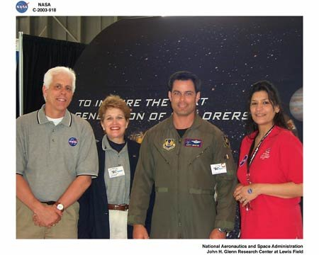 NASA GLENN RESEARCH CENTER EMPLOYEES AND WRIGHT FLYER PILOT ENJOY A MOMENT AT THE WRIGHT PATTERSON AIR FORCE BASE OPEN HOUSE - AIR POWER 2003, MAY 10-11, 2003