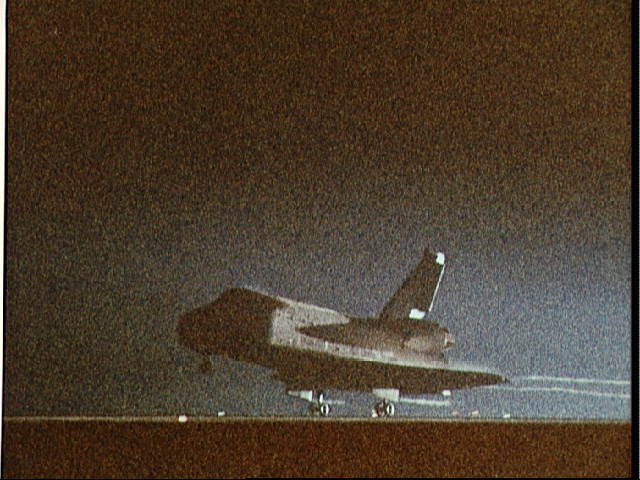 Night landing of Shuttle Columbia at Edwards AFB and end of STS 61-C mission