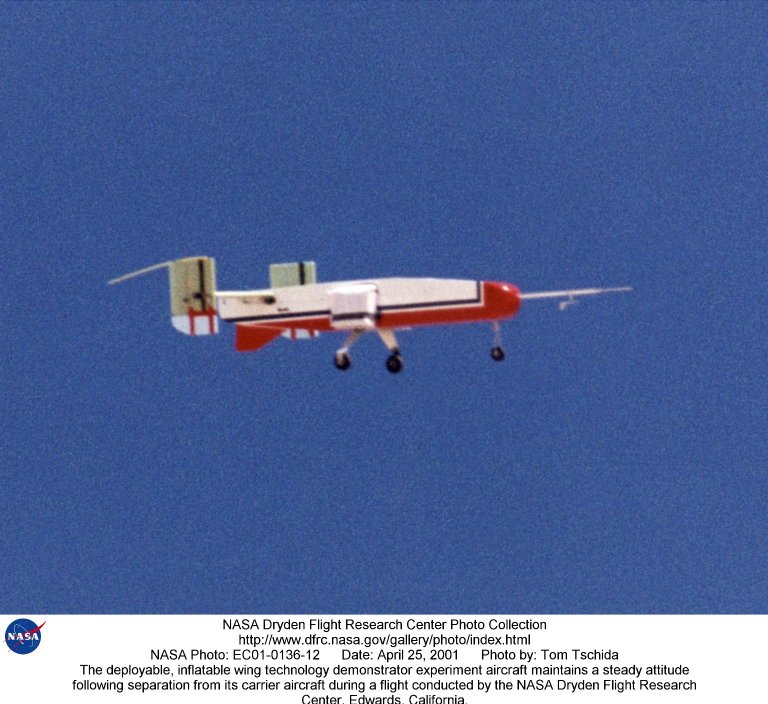 The deployable, inflatable wing technology demonstrator experiment aircraft maintains a steady attit