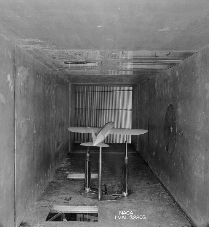 Model in the test section of the Stability Tunnel