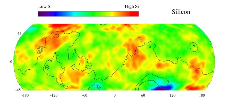 Map of Martian Silicon at Mid-Latitudes