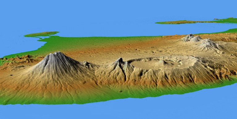 Mts. Agung and Batur, Bali, Shaded Relief and Colored Height