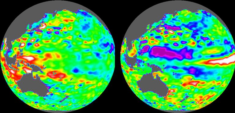 TOPEX/El Niño Watch - Indonesia Area, December, 1996 and August, 1997