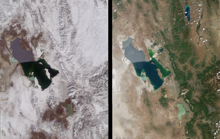 Winter and Summer Views of the Salt Lake Region