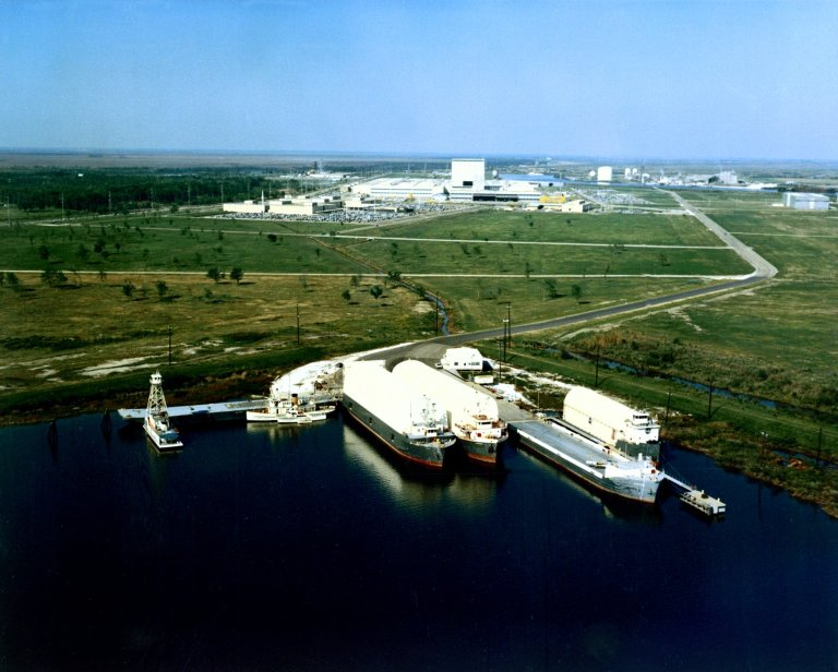 Four NASA Barges at Michoud Assembly Facility