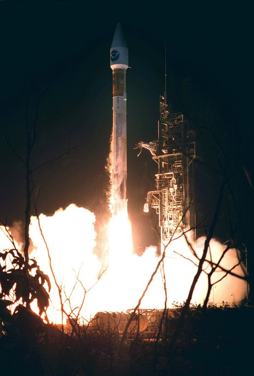 Seconds after liftoff, the Atlas II/Centaur rocket carrying the NASA/NOAA weather satellite GOES-L hurtles into space from Pad A at Complex 36 on Cape Canaveral Air Force Station. Liftoff occurred at 3:07 a.m. EDT. The primary objective of the GOES-L is to provide a full capability satellite in an on-orbit storage condition, in order to assure NOAA continuity in services from a two-satellite constellation. Launch services are being provided by the 45th Space Wing. Once in orbit, the spacecraft is to be designated GOES-11 and will complete its 90-day checkout in time for availability during the 2000 hurricane season