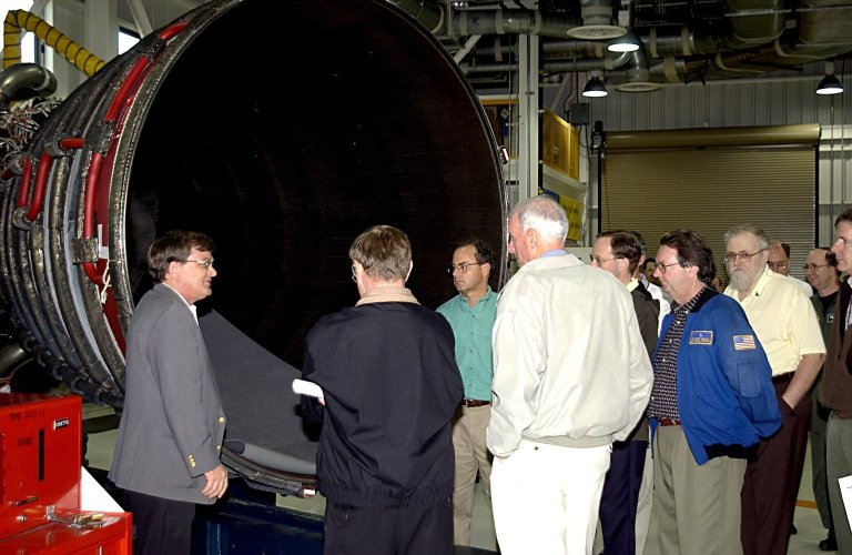 KENNEDY SPACE CENTER, FLA. - Retired Navy Admiral Harold W. Gehman Jr. (fourth from left), chairman of the Columbia Accident Investigation Board, is given a guided tour of the Space Shuttle Main Engine shop. Gehman and other members of the board are visiting sites at KSC to become familiar with the Shuttle launch process. The independent board is charged with determining what caused the destruction of the Space Shuttle Columbia and the loss of its seven-member crew on Feb. 1 during reentry.