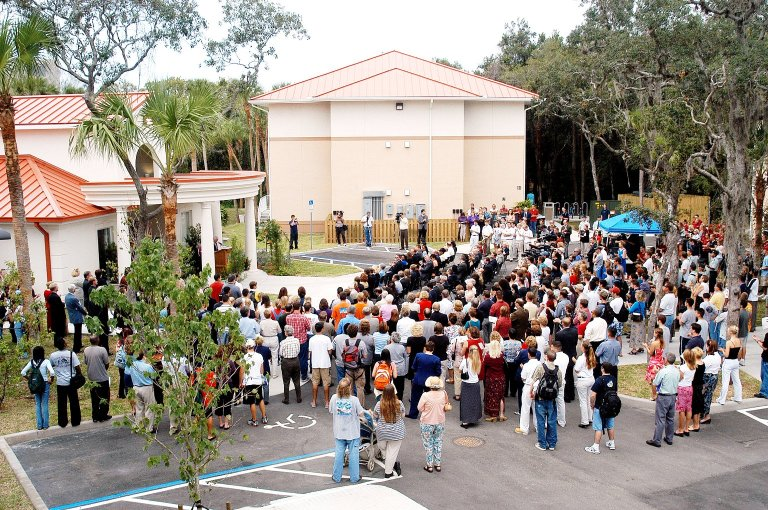 KENNEDY SPACE CENTER, FLA. - Family members of the STS-107 astronauts, other dignitaries, members of the university community and the public gather for the dedication ceremony of the Columbia Village at the Florida Institute of Technology in Melbourne, Fla. Each of the seven new residence halls in the complex is named for one of the STS-107 astronauts who perished during the Columbia accident -- Rick Husband, Willie McCool, Laurel Clark, Michael Anderson, David Brown, Kalpana Chawla, and Ilan Ramon.