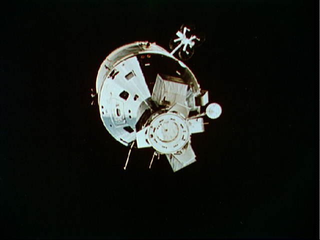 American Apollo spacecraft as seen from Soviet Soyuz spacecraft in orbit