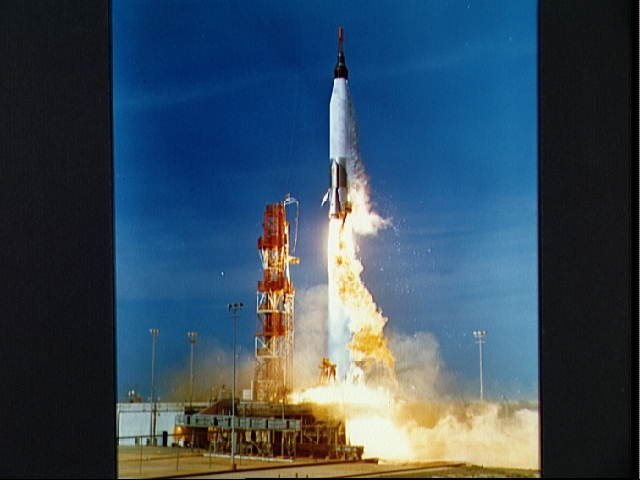 Launch of Mercury-Atlas 2 vehicle on Feb. 21, 1961