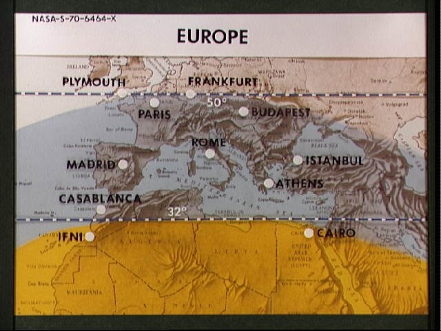 Map of Europe marked indicating areas of coverage from Apollo photography