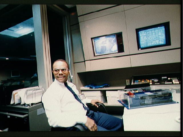 Student Lloyd C. Bruce listens to MS John M. Lounge in CSR during STS-26