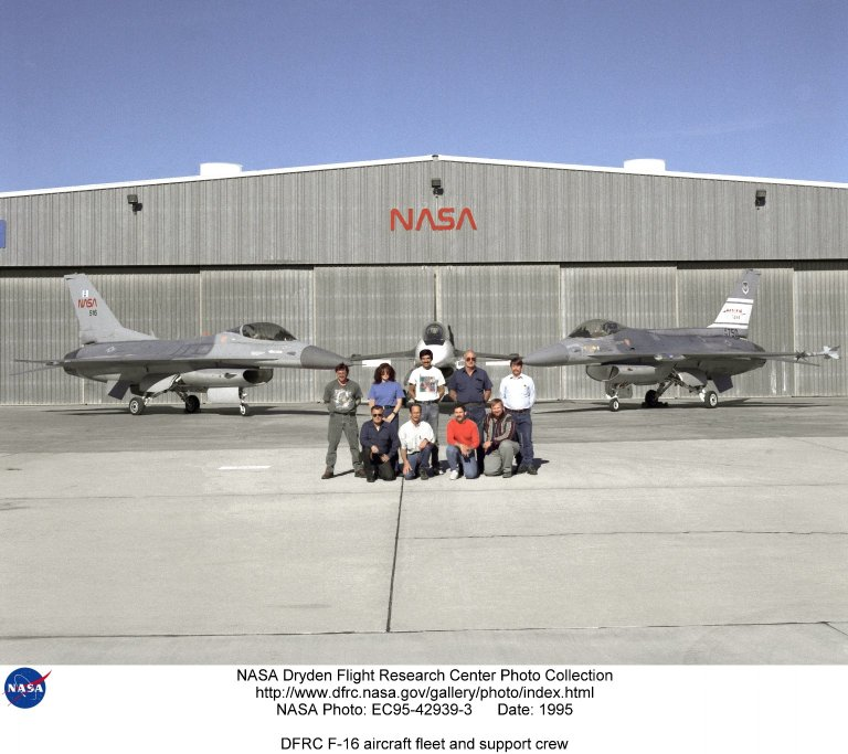 The support crew for the F-16A, the F-16XL no. 1, and the F-16 AFTI are, top row, left to right: Randy Weaver; mechanic, Susan Ligon; mechanic, Bob Garcia; Crew Chief, Rich Kelly; mechanic, Dale Edminister; Avionics Technician. Bottom row, left to right, Art Cope; mechanic, John Huffman; Avionics Technician, Jaime Garcia; Avionics Technician, Don Griffith, Avionics Tech. Co-op student. The F-16A (NASA 516), the only civil registered F-16 in existence, was transferred to Dryden from Langley, and is primarily used in engine tests and for parts. Although it is flight-worthy, it is not currently flown at Dryden. The single-seat F-16XL no. 1 (NASA 849) was most recently used in the Cranked-Arrow Wing Aerodynamics Project (CAWAP) to test boundary layer pressures and distribution. Previously it had been used in a program to investigate the characteristics of sonic booms for NASA's High Speed Research Program. Data from the program will be used in the development of a high speed civilian transport. During the series of sonic boom research flights, the F-16XL was used to probe the shock waves being generated by a NASA SR-71 and record their shape and intensity. The Advanced Fighter Technology Integration (AFTI) F-16 was used to develop and demonstrate technologies to improve navigation and a pilot's ability to find and destroy enemy ground targets day or night, including adverse weather. Earlier research in the joint NASA-Air Force AFTI F-16 program demonstrated voice actuated controls, helmet-mounted sighting and integration of forward-mounted canards with the standard flight control system to achieve uncoupled flight.