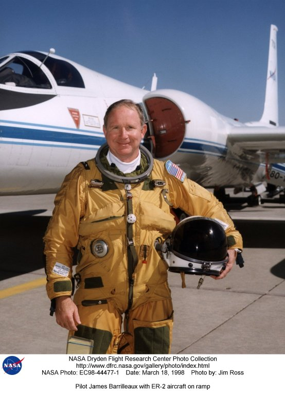 J ames Barrilleaux is the assistant chief pilot for ER-2s in the Flight Crew Branch of NASA's Dryden Flight Research Center, Edwards, California. The ER-2s--civilian variants of the military U-2S reconnaissance aircraft--are part of NASA's Airborne Science program. The ER-2s can carry airborne scientific payloads of up to 2,600 pounds to altitudes of about 70,000 feet to investigate such matters as earth resources, celestial phenomena, atmospheric chemistry and dynamics, and oceanic processes. Barrilleaux has held his current position since February 1998. Barrilleaux joined NASA in 1986 as a U-2/ER-2 pilot with NASA's Airborne Science program at Ames Research Center, Moffett Field, California. He flew both the U-2C (until 1989) and the ER-2 on a wide variety of missions both domestic and international. Barrilleaux flew high-altitude operations over Antarctica in which scientific instruments aboard the ER-2 defined the cause of ozone depletion over the continent, known as the ozone hole. He has also flown the ER-2 over the North Pole. Barrilleaux served for 20 years in the U.S. Air Force before he joined NASA. He completed pilot training at Reese Air Force Base, Lubbock, Texas, in 1966. He flew 120 combat missions as a F-4 fighter pilot over Laos and North Vietnam in 1970 and 1971. He joined the U-2 program in 1974, becoming the commander of an overseas U-2 operation in 1982. In 1983, he became commander of the squadron responsible for training all U-2 pilots and SR-71 crews located at Beale Air Force Base, Marysville, California. He retired from the Air Force as a lieutenant colonel in 1986. On active duty, he flew the U-2, F-4 Phantom, the T-38, T-37, and the T-33. His decorations included two Distinguished Flying Crosses, 12 Air Medals, two Meritorious Service Medals, and other Air Force and South Vietnamese awards. Barrilleaux earned a bachelor of science degree in chemical engineering from Texas A&M University, College Station, in 1964 and a master of science de
