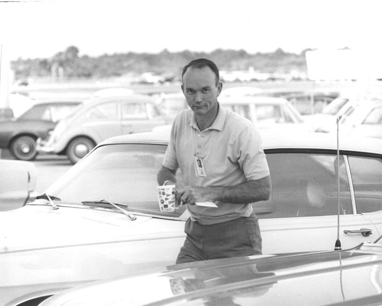 Apollo 11 Astronaut Collins Arrives at the Flight Crew Training Building