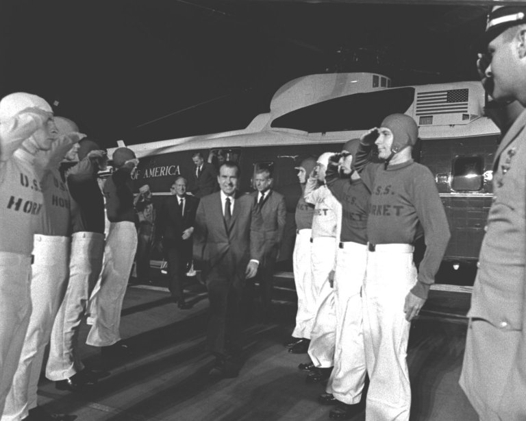 U.S. President Richard Milhous Nixon Arrives Aboard U.S.S. Hornet for Apollo 11 Recovery