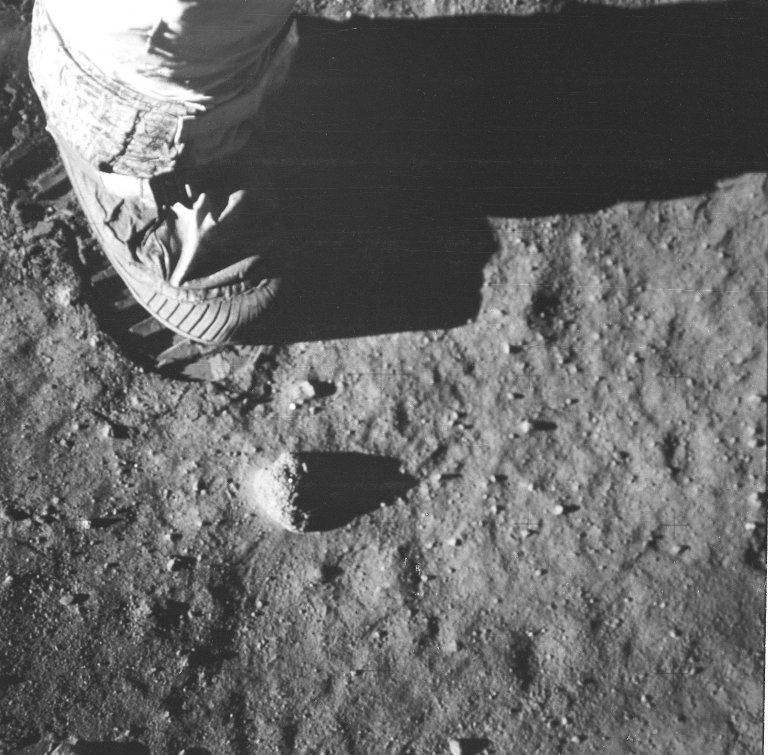 Close-up of Astronaut?s Foot on Lunar Surface