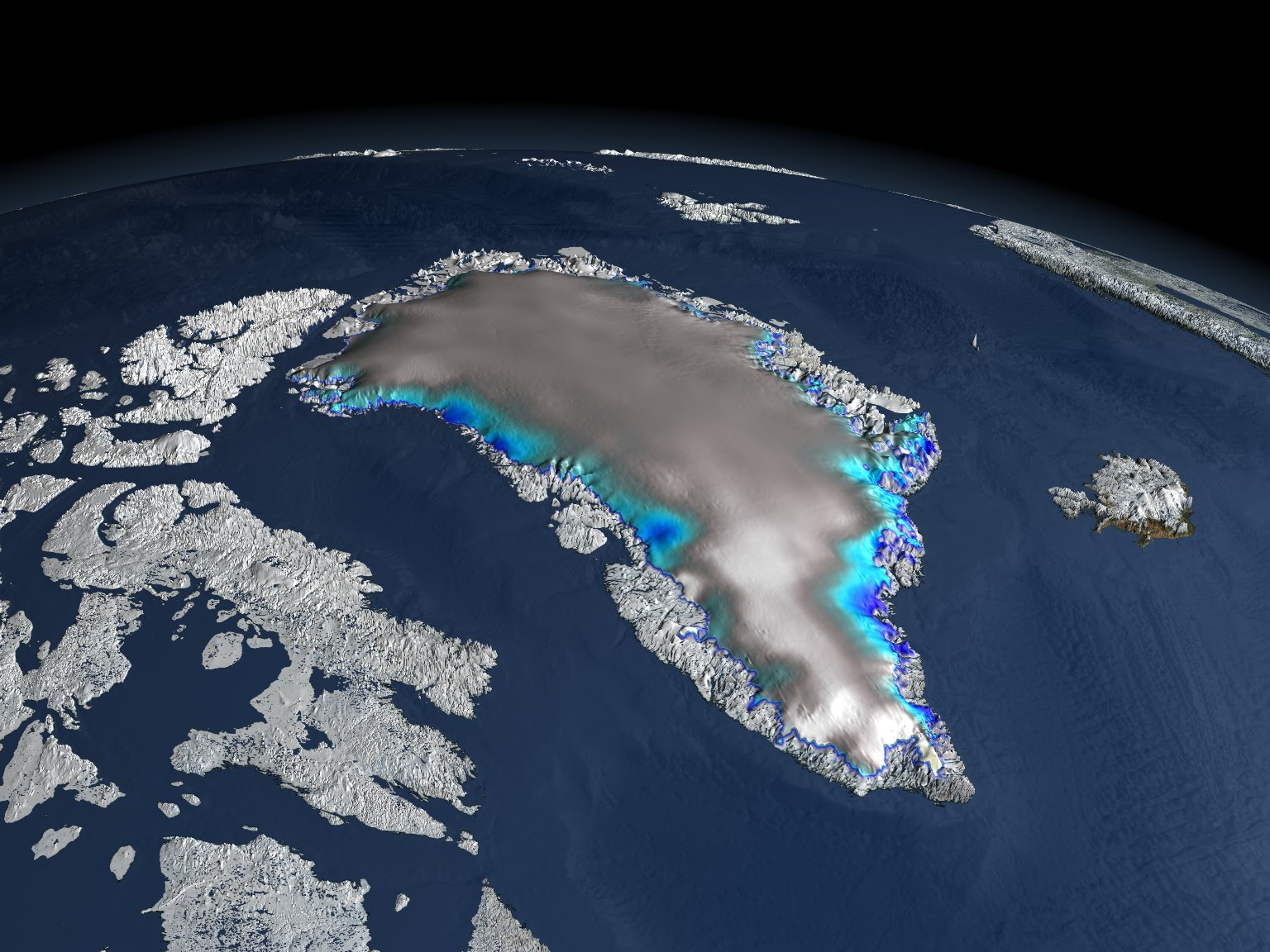 Change in Elevation over Greenland with Alternate Color Scale