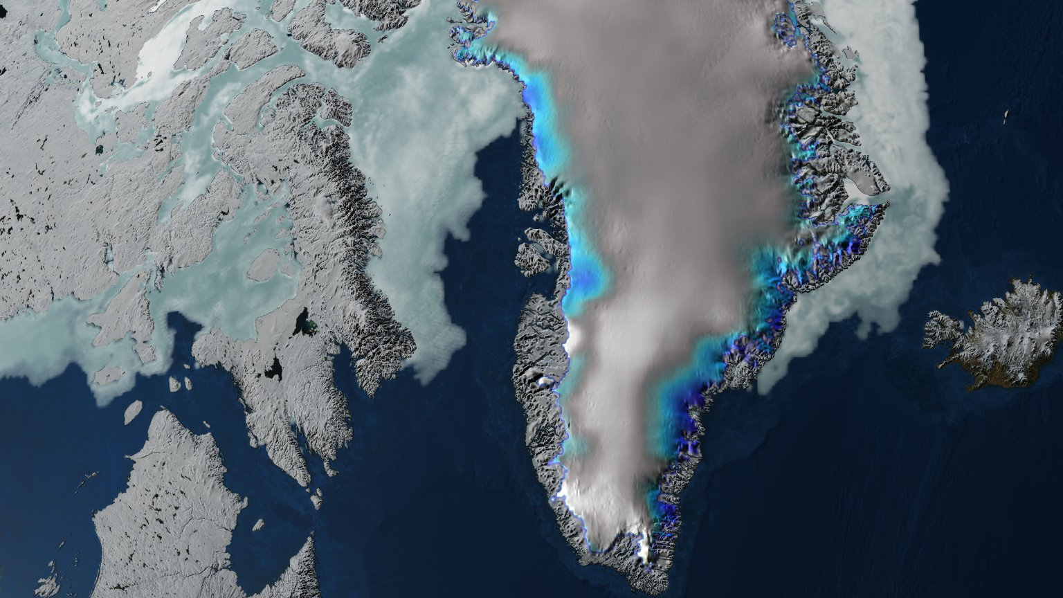 Updated Jakobshavn Glacier Calving Front Retreat from 2001 through 2006 with Blue/White Elevation Change over Greenland