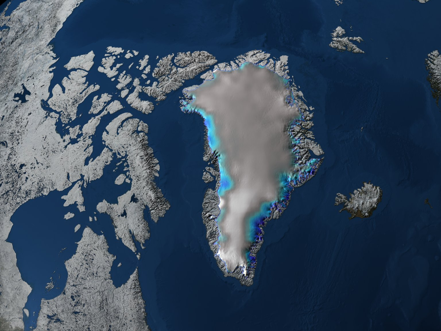 Nadir View of Change in Elevation over Greenland with a Blue/Yellow Color Scale