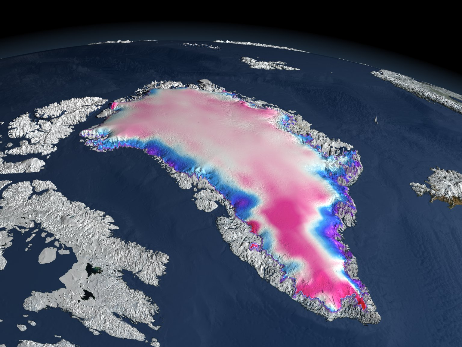 Change in Elevation over Greenland