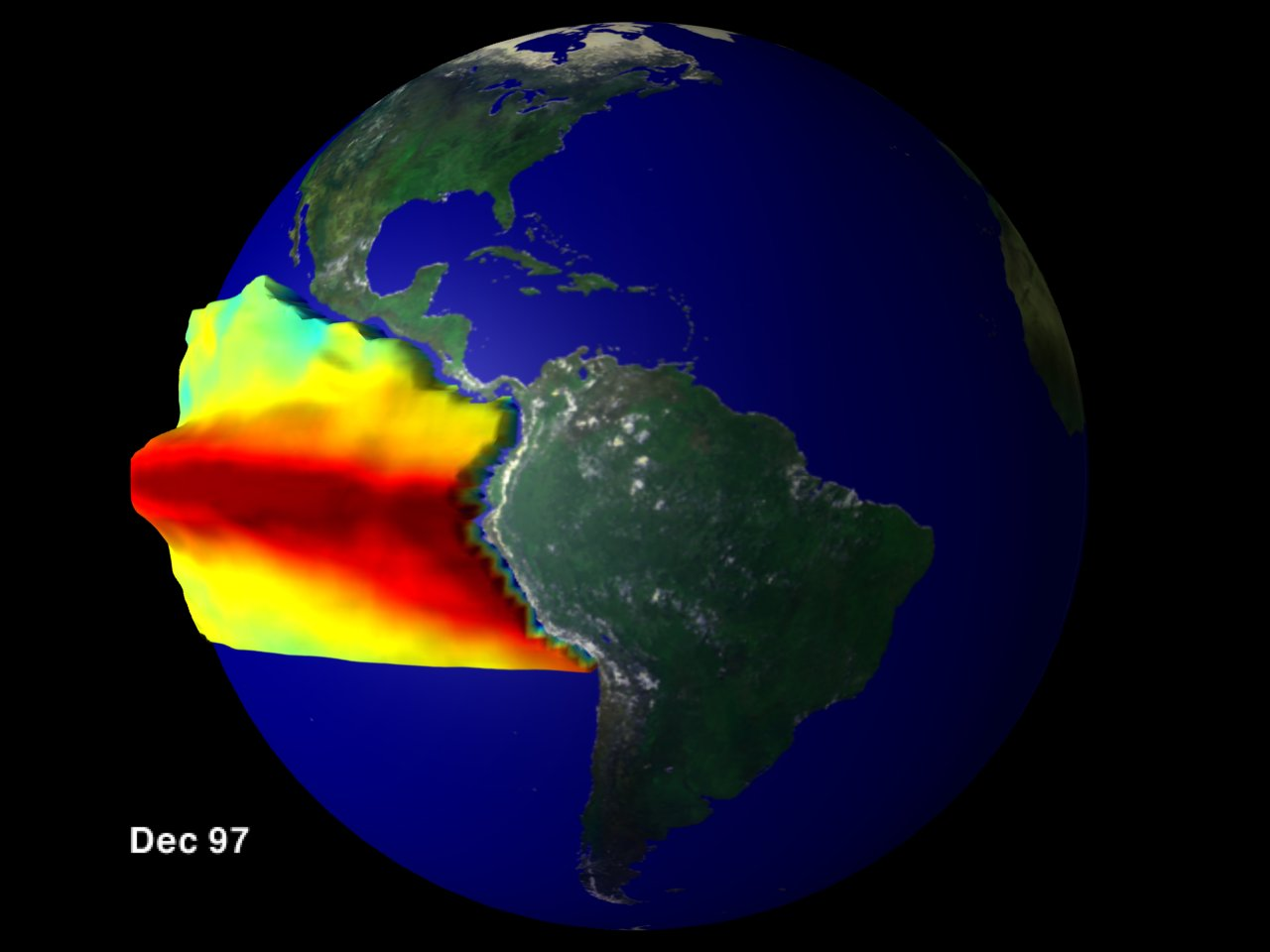 El Niño Sea Surface Temperature and Height Anomaly on a Globe: January 1997 through December 1997