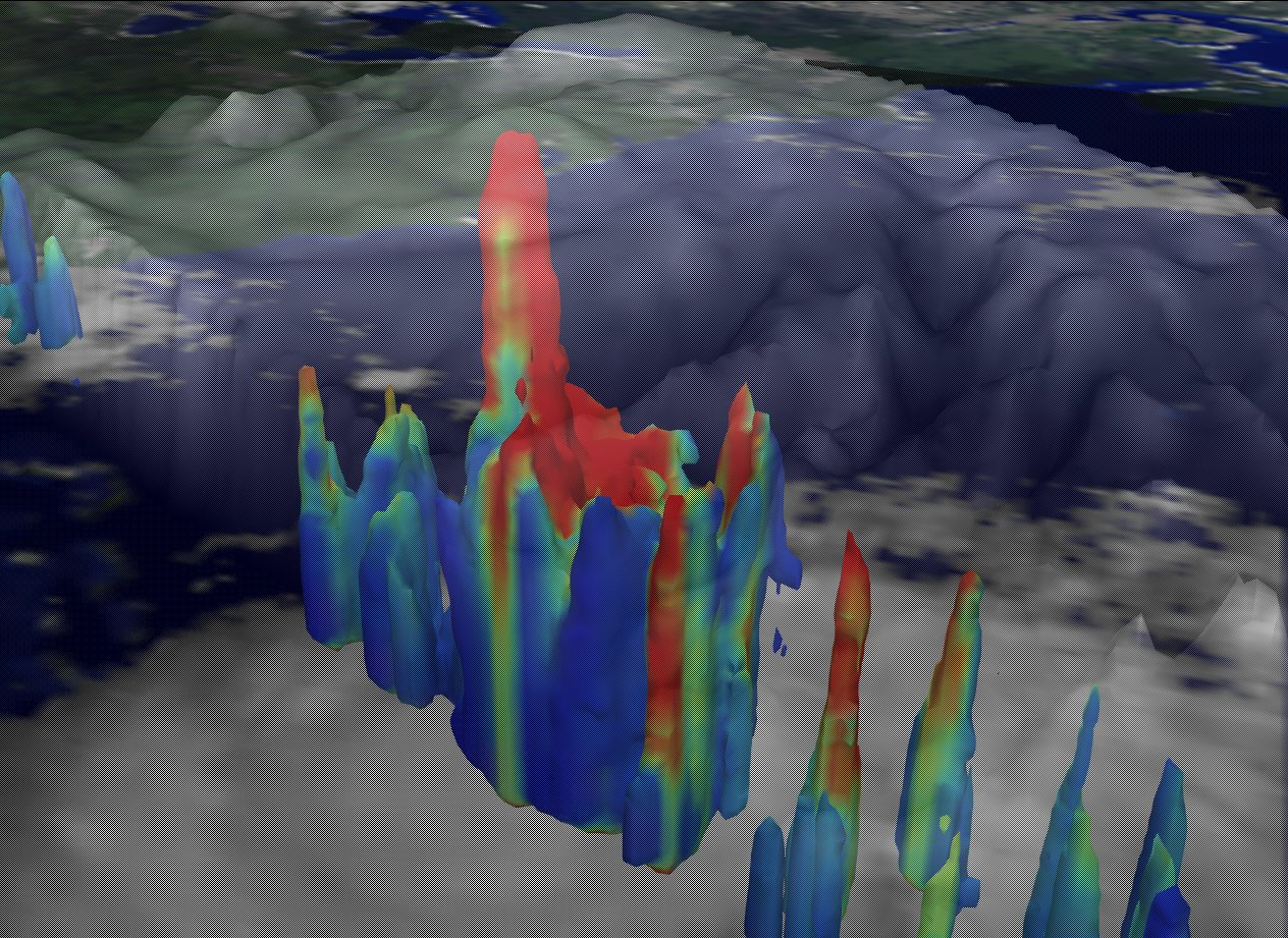 Hurricane Bonnie from TRMM and GOES with Cloud Tower: August 22, 1998