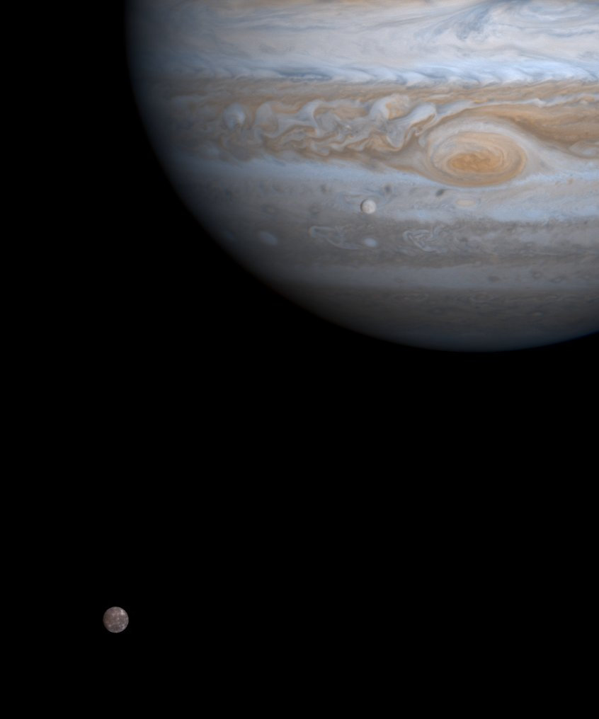 Europa, Callisto and Jupiter