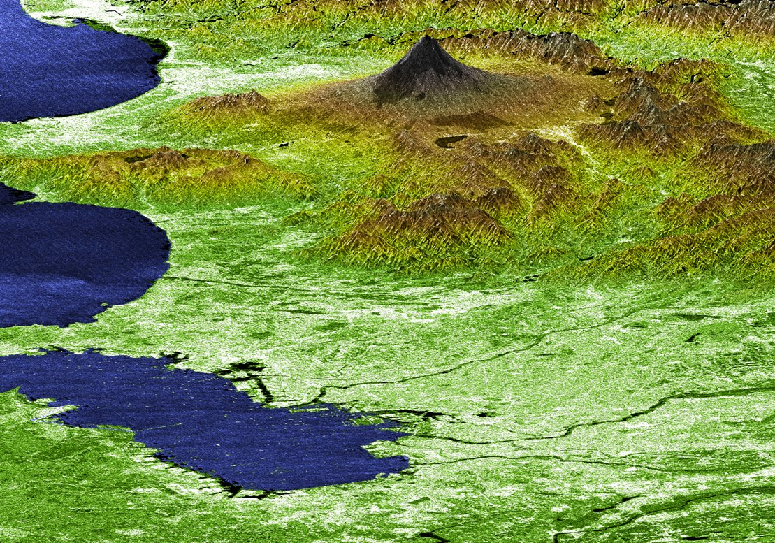 (MRPS 96969) Perspective View with Radar Image Overlaid, Color as Height Mt. Fuji and Tokyo, Japan